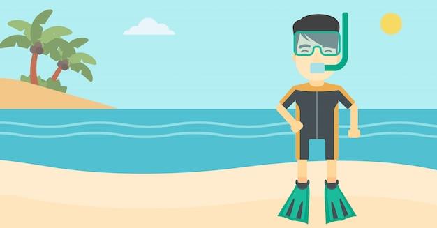 Mannelijke scuba-duiker op de strand vectorillustratie.
