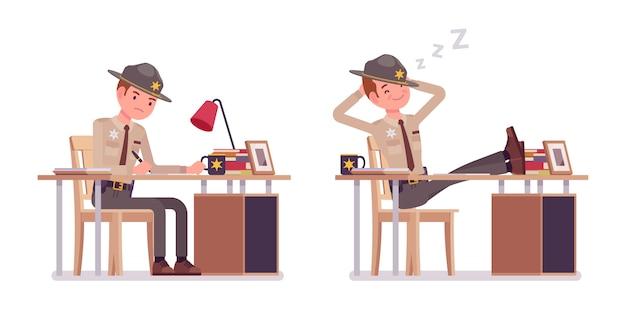 Mannelijke sheriff die bij bureau en rustende banner werkt