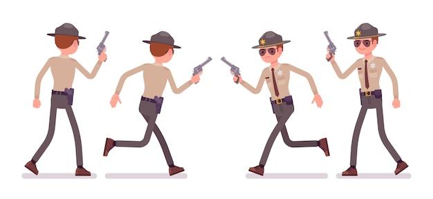 Mannelijke sheriff die en met pistool loopt loopt