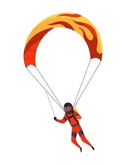 Mannelijke skydiver die met sportuitrusting vliegt. parachutespringen extreme sport. parachutespringen karakter op wit. actieve hobby's sportman springt