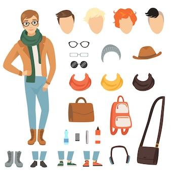 Mannelijke stripfiguur met verschillende mode-accessoires en kleding