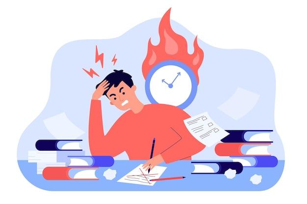 Mannelijke student die vóór examens leert of test vlakke afbeelding schrijft. boos stripfiguur harde opdrachten doen en voorbereiden op modulewerk. studie- en kennisconcept