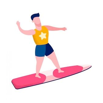Mannelijke surfer zwaaien hand platte vectorillustratie