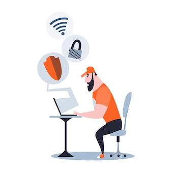 Mannelijke systeembeheerder die op laptop werkt om de server te onderhouden of te repareren. herstellen en aanpassen van werkzaamheden aan netwerkverbinding. technisch ingenieur werk aan systeemonderhoud.