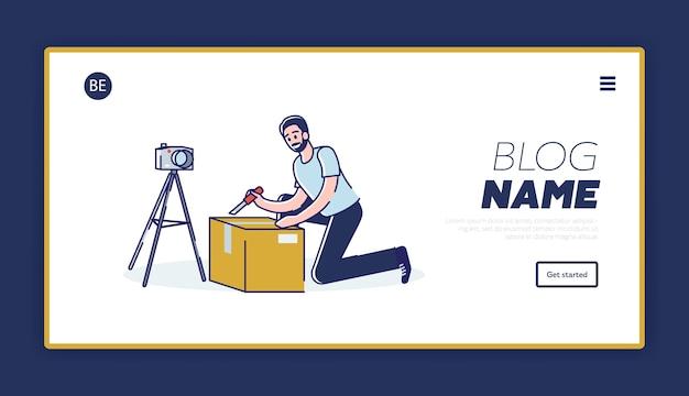Mannelijke vlogger die uitpakvideo maakt, ontwerp van weblandingspagina's. vlog kanaal inhoud concept