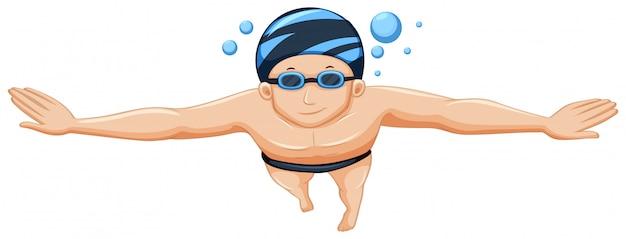 Mannelijke volwassen zwemmer geïsoleerd