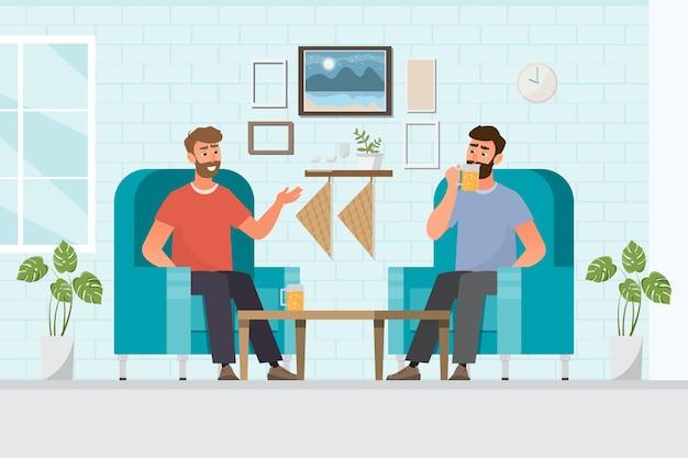 Mannelijke vrienden bier drinken in een huis, tijd ontspannen, illustratie, platte ontwerp stripfiguur