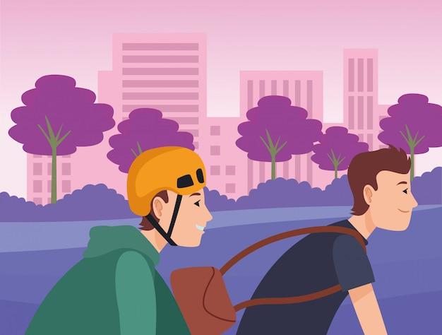 Mannelijke vrienden die in fietsenbeeldverhaal berijden