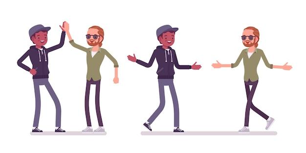 Mannelijke vrienden geven high five en handdruk