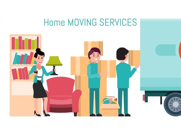 Mannelijke vrouwelijke karakter aanroeping bewegende dienst nieuw huis, man loader hulp verwijdering materiaal geïsoleerd op wit, illustratie.