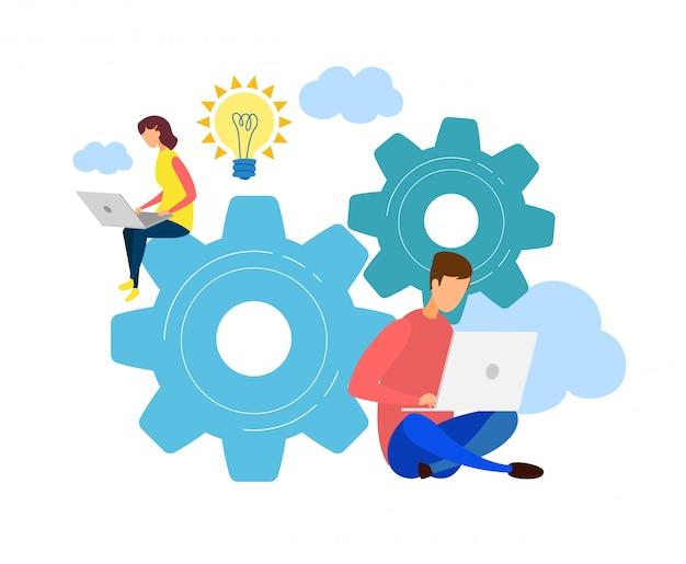 Mannelijke, vrouwelijke ontwikkelaars teamwerk karakter