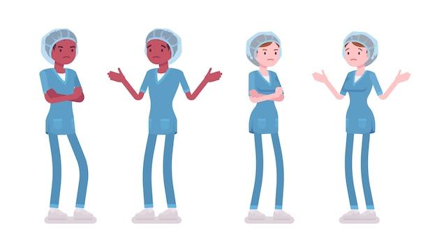 Mannelijke, vrouwelijke verpleegster in negatieve emoties