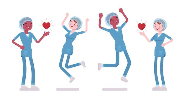Mannelijke, vrouwelijke verpleegster in positieve emoties. jonge werknemers in ziekenhuis uniform gelukkig op het werk, genieten van werk, carrière. geneeskunde, gezondheidszorg. stijl cartoon illustratie, witte achtergrond