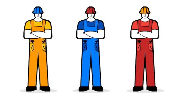 Mannelijke werknemer of bouwer in werkkleding en bouwhelm werkconcept vector