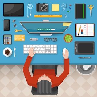 Mannelijke werkplek bovenaanzicht ontwerp
