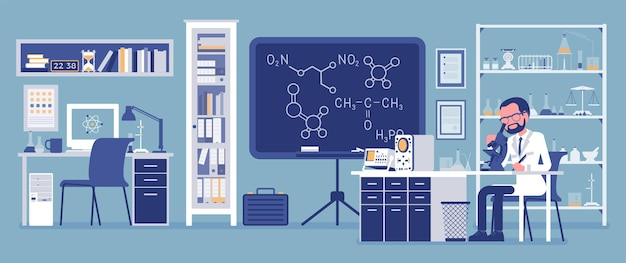 Mannelijke wetenschapper die in laboratorium werkt. man in witte jas, wetenschappelijk onderzoeker die onderzoek doet in de natuurwetenschappen. onderwijs en wetenschap concept. vectorillustratie, gezichtsloze karakters