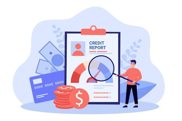 Mannelijke zakenman met geld en kredietrapport vlakke afbeelding