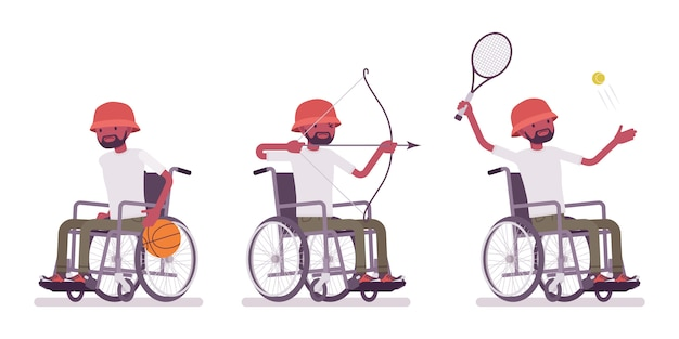 Mannelijke zwarte jonge rolstoelgebruiker en sportactiviteit. veel plezier, doe mee aan tennis, boogschieten. handicap, medisch sociaal beleidsconcept. de illustratie van het stijlbeeldverhaal, witte achtergrond