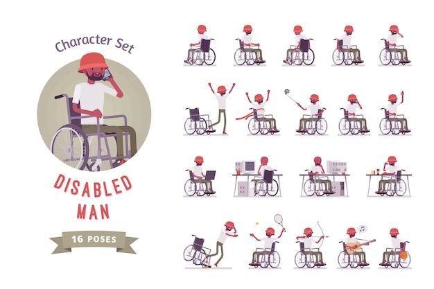 Mannelijke zwarte jonge rolstoelgebruiker tekenset