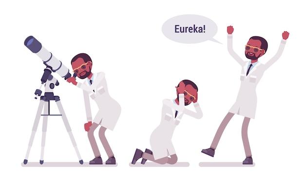 Mannelijke zwarte wetenschapper blij met eureka resultaat. succesvol expert in fysisch, natuurlijk laboratorium in witte jas. wetenschap, technologie. stijl cartoon illustratie op witte achtergrond