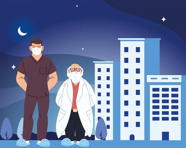 Mannen artsen met maskers voor het ontwerpen van medische zorg voor het ziekenhuisgebouw en het covid 19-virusthema