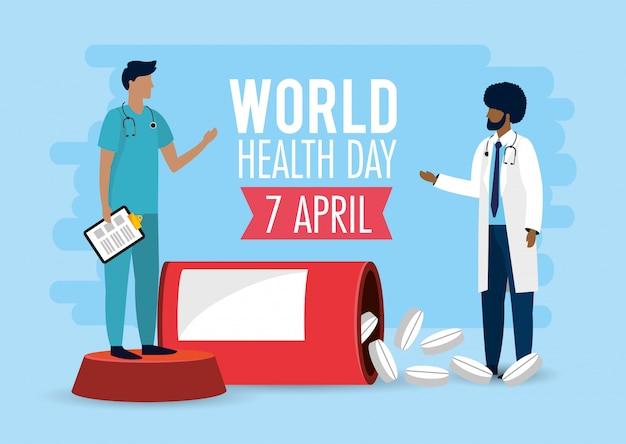 Mannen artsen met medicijnen voor de dag van de gezondheid