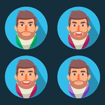 Mannen avatar set met gezicht emoties plat ontwerp