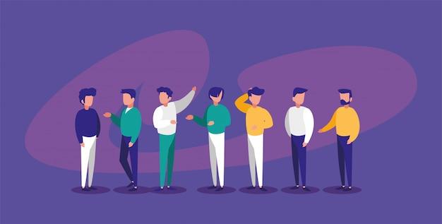 Mannen avatars op paarse achtergrond