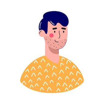 Mannen avatars tekens. vrolijke, gelukkige mensen platte vector illustratie set. mannelijke en vrouwelijke portretten, groep, team. schattige jongens en meisjes trendy pack.