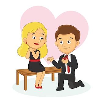 Mannen belijden liefde voor valentijnsdag Premium Vector
