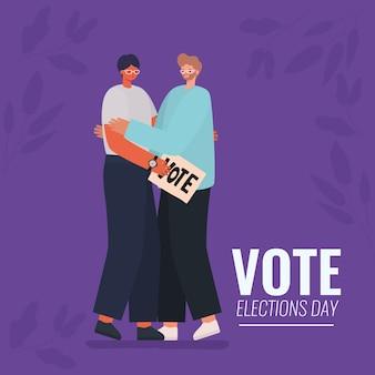 Mannen cartoons knuffelen met het ontwerp van de banner van de stemming, de dag van de verkiezingen en het overheidsthema.