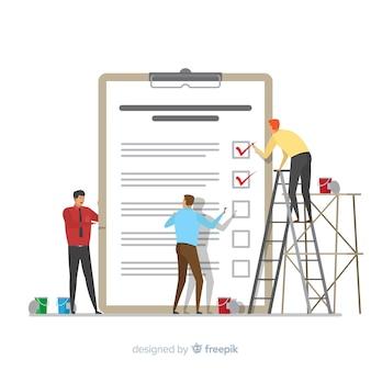 Mannen controleren gigantische checklist achtergrond