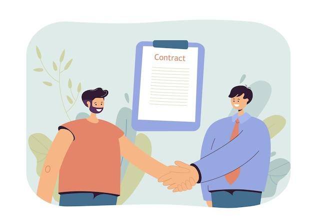 Mannen die contractillustratie ondertekenen