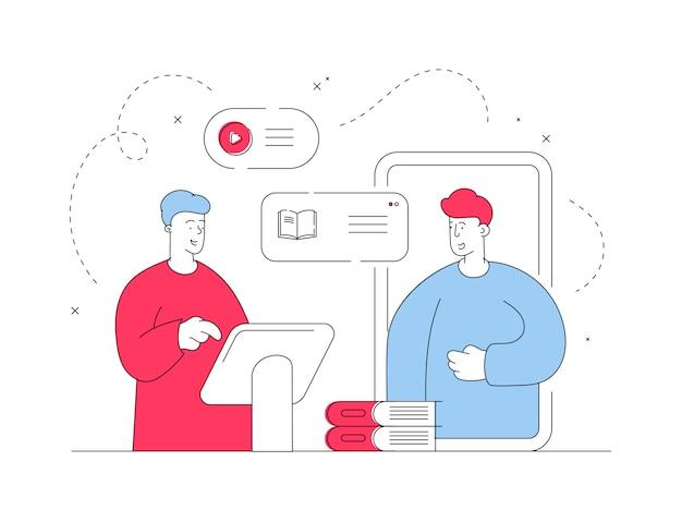 Mannen die een online bibliotheek-app gebruiken. lijn illustratie