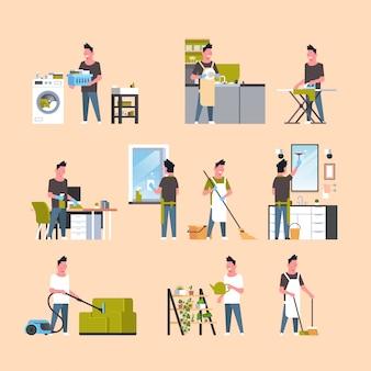 Mannen die huishoudelijk werk doen verschillende huisreinigingsverzameling mannelijke stripfiguren instellen