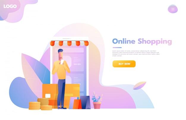 Mannen die mobiel winkelen gebruiken. mensen lopen in de winkel die eruitziet als een tabletcomputer. online winkelconcept. vector platte ontwerp illustratie.