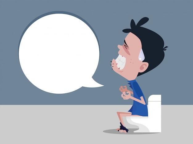 Mannen die op het toilet zitten en constipatie ervaren hevige buikpijn