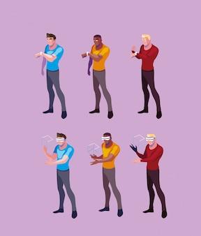 Mannen die technologie van augmented reality gebruiken