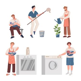 Mannen doen huishoudelijk werk illustratie