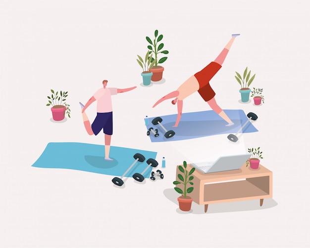 Mannen doen yoga op matten voor laptop desig