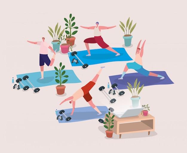 Mannen doen yoga op matten voor laptop
