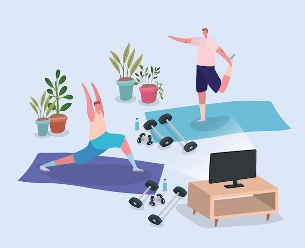 Mannen doen yoga op matten voor tv