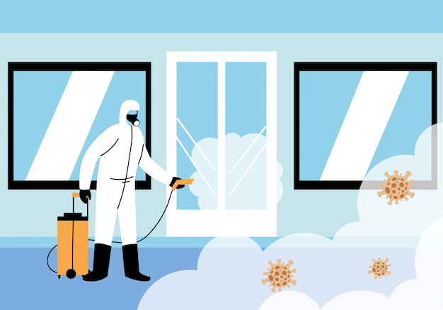 Mannen dragen een beschermend pak, reiniging en desinfectie