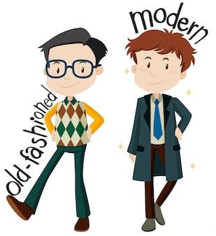 Mannen dragen ouderwetse en moderne kleding