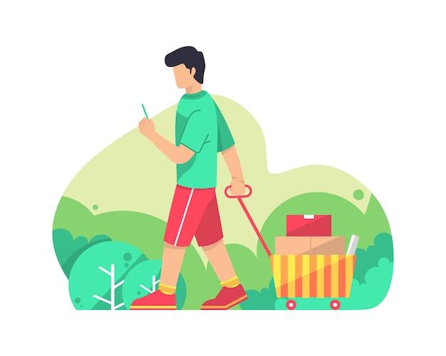 Mannen dragen winkelen vector illustratie afbeeldingen