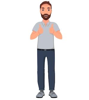Mannen duimen omhoog. cartoon karakter illustratie.
