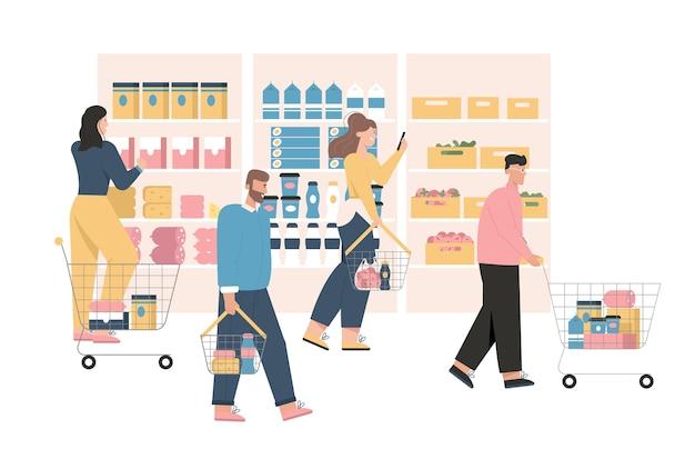 Mannen en vrouwen bij kruidenier of supermarkt.