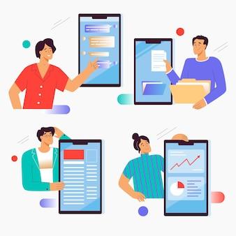 Mannen en vrouwen communiceren met de interface