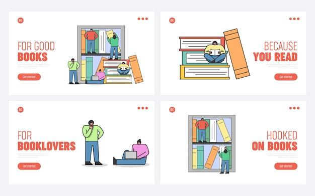 Mannen en vrouwen die boeken lezen met behulp van gadgets