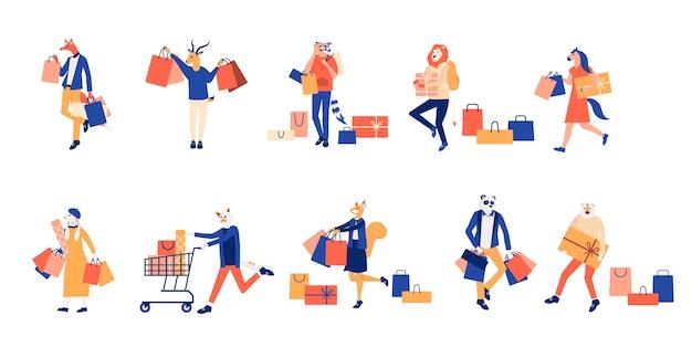 Mannen en vrouwen die deelnemen aan seizoensuitverkoop. platte winkel winkelcentrum illustratie.